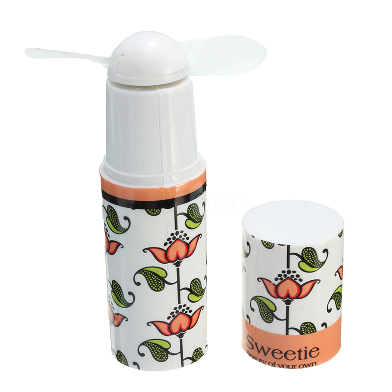 XMX-Mini Portable Pocket Fan Lipstick Shape Handheld Cooling Battery Travel Cooler -Size: Approx. 10x3x3cm Multicolor Random