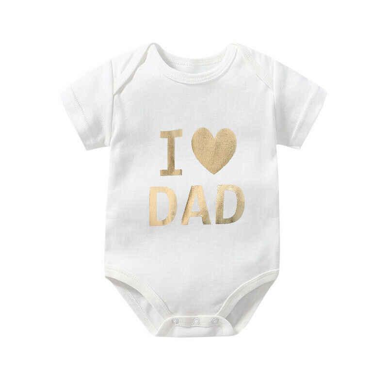 아버지의 날 유아 아기 소년 소녀 키즈 Romper Bodysuit 여름 옷 골드 스탬프 아기 Bodysuits 100 일 아기 선물 3M-24M