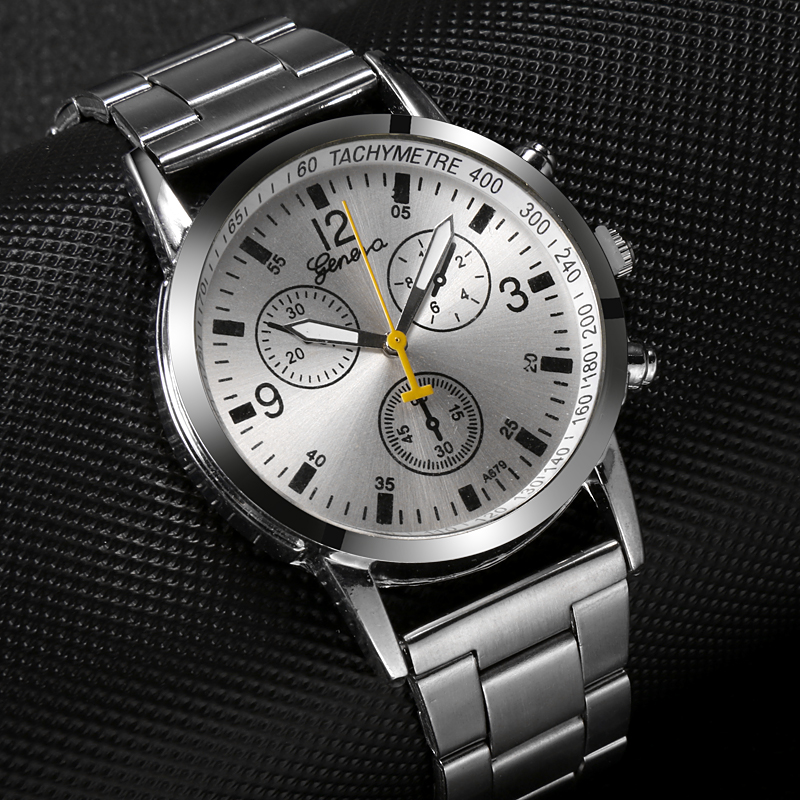Stainless Steel Men's Watch Delicate Design Three Dial Men Clock Relogio Masculino Quartz Dress Watches Man Wrist Watches