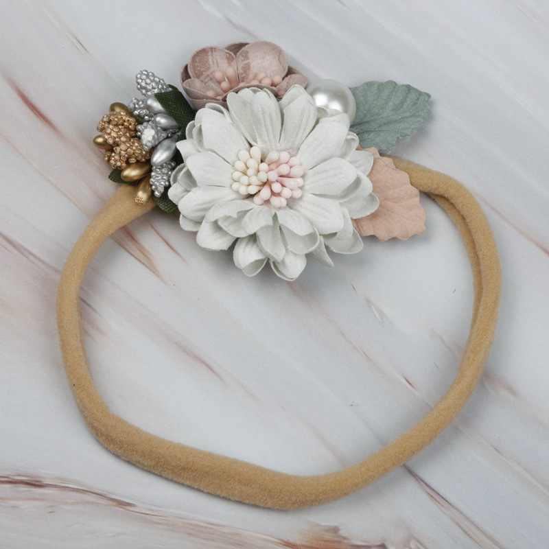 韓国赤ちゃんヘッドバンド新生児弾性王女花ヘアバンド子供真珠の花新鮮なスタイルかわいいヘアアクセサリー