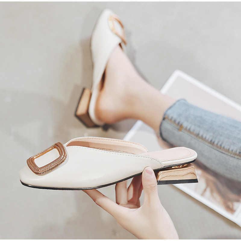 MCCKLE kadın yazlık terlik ofis bayan slaytlar moda kadın düşük topuk sandalet rahat katır Pu deri zarif kadın ayakkabı 2020