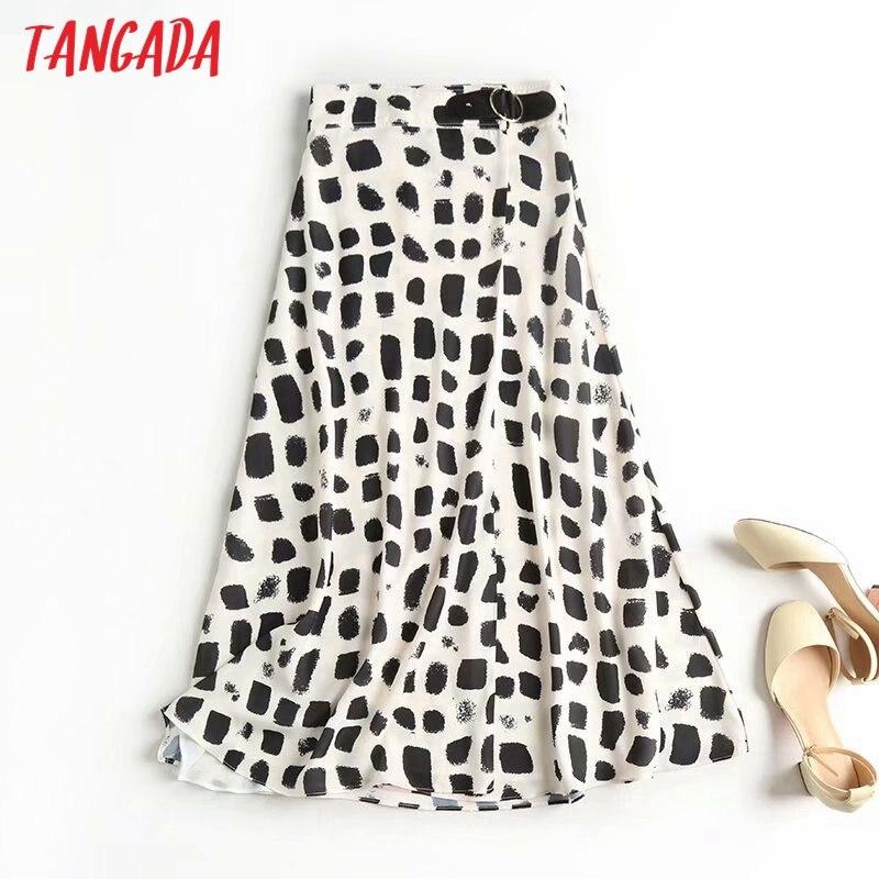 Tangada 2020 Autumn Women Print Elegant Midi Skirt Side Belt Office Ladies Chic Mid Calf Skirts High Quality 4C4