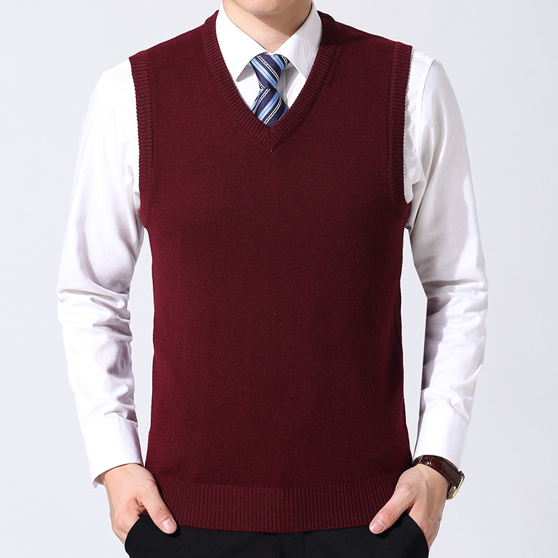 MRMT 2020 Brand Autumn Winter New Men's Sweater Vest Pure Color Wool Pullover For Male Vest V Collar Sweater Vest