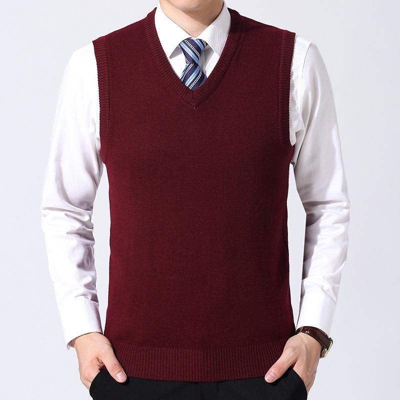 MRMT 2020 Brand Autumn Winter New Men's Sweater Vest Pure Color Wool Pullover For Male Vest V Collar Sweater Vest