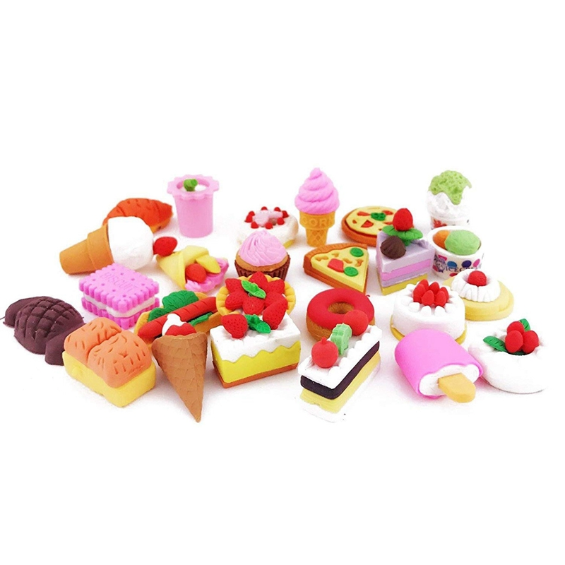 NEW-25PCS Pencil Erasers Assorted Food Cake Dessert Puzzle Toys Earsers For Kids(25 Different Style Randomly Selected From As Sh