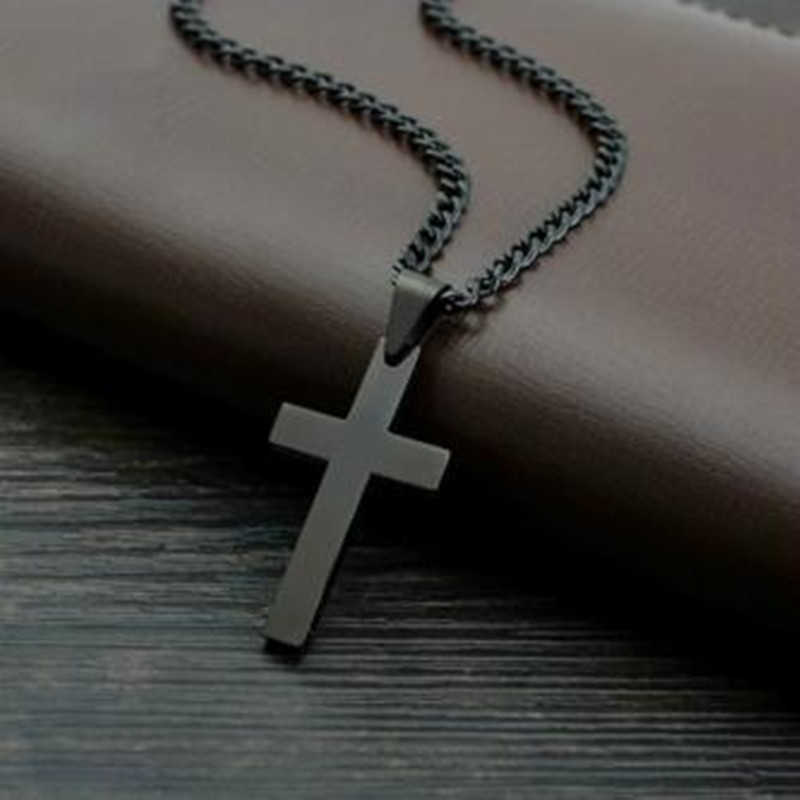 Vintage Cross Pendant Necklace Stainless Steel Necklace New Design Black Chain Pendant Necklace Men Women Necklace