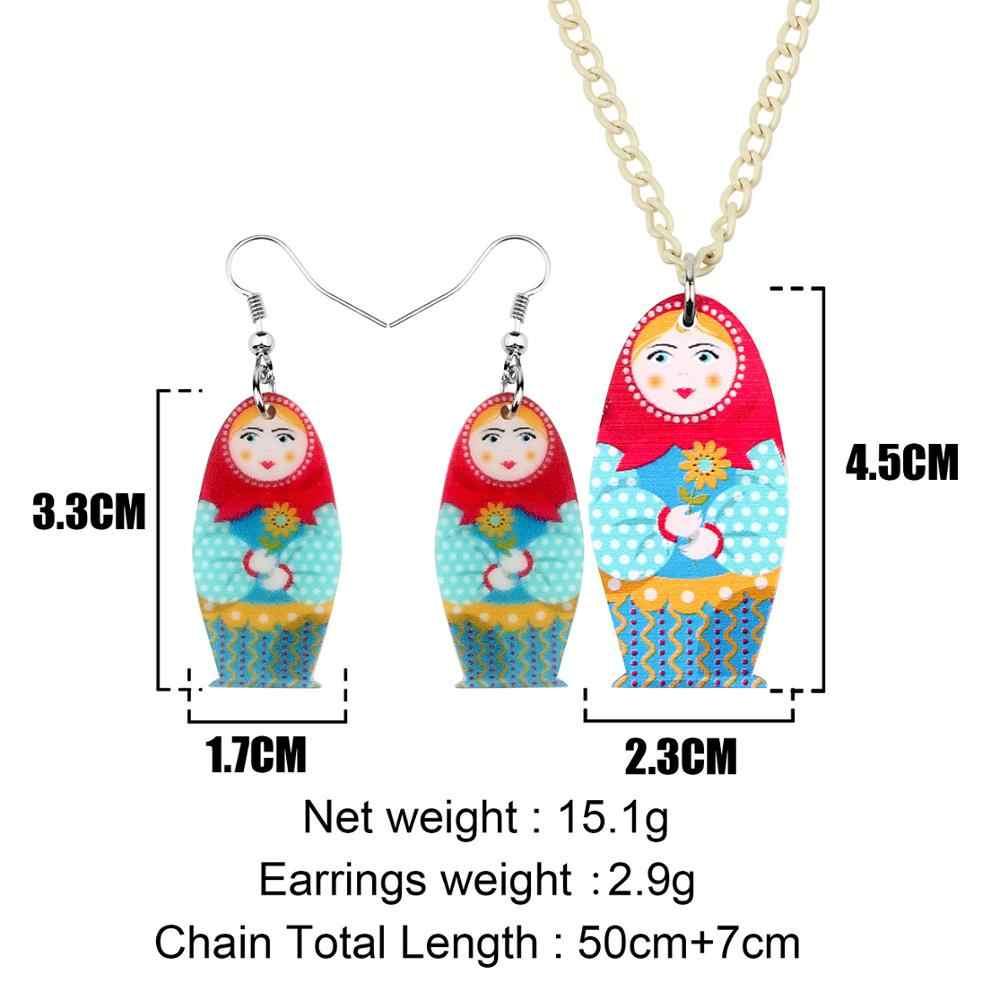 Bonsny акриловые матрешки русские кукольные серьги ожерелье серьги Ювелирные наборы подростковые подвески для девушки вечерние подарки Этнические украшения