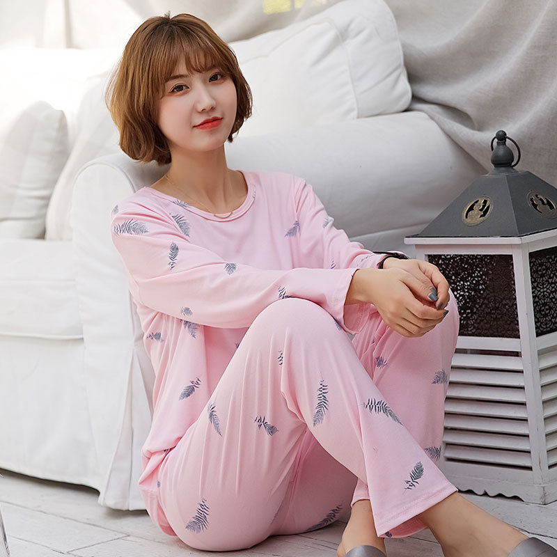 New Style Fresh And Sweet Pink Feather Thick-150G Qmilch Pajamas Women Long Sleeve Spring And Autumn Pajamas Case