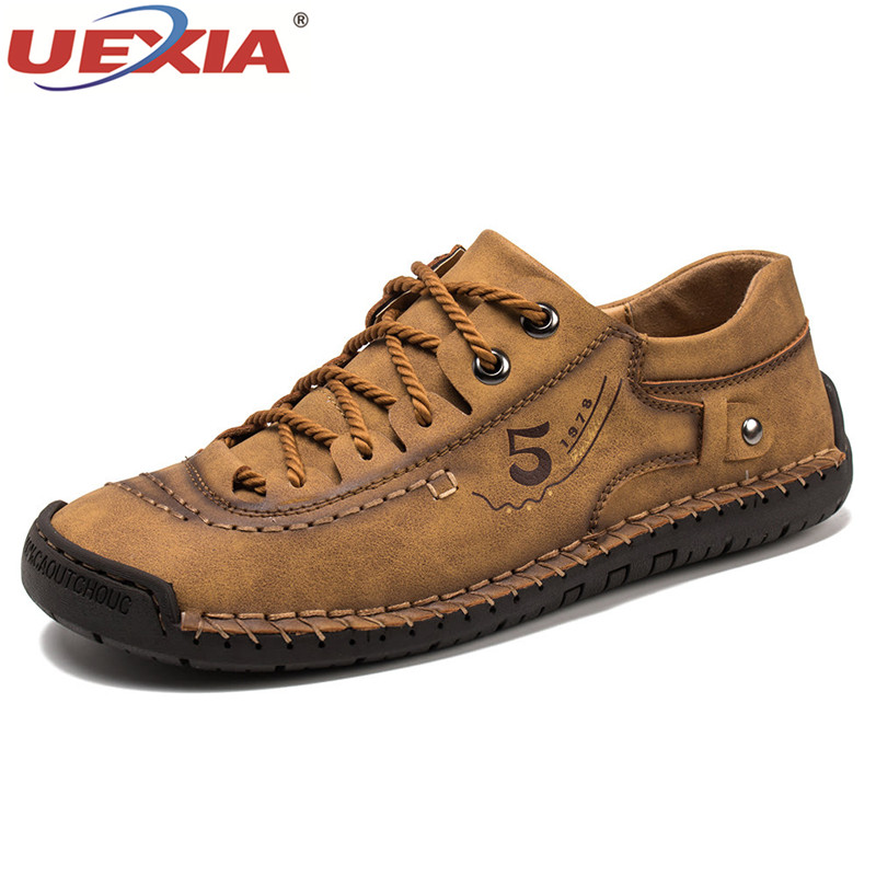 Luxury Leather Shoes Men Sneakers Trainers Lace-up Flats Driving Casual Comfort Loafers Handmade Sewing Footwear
