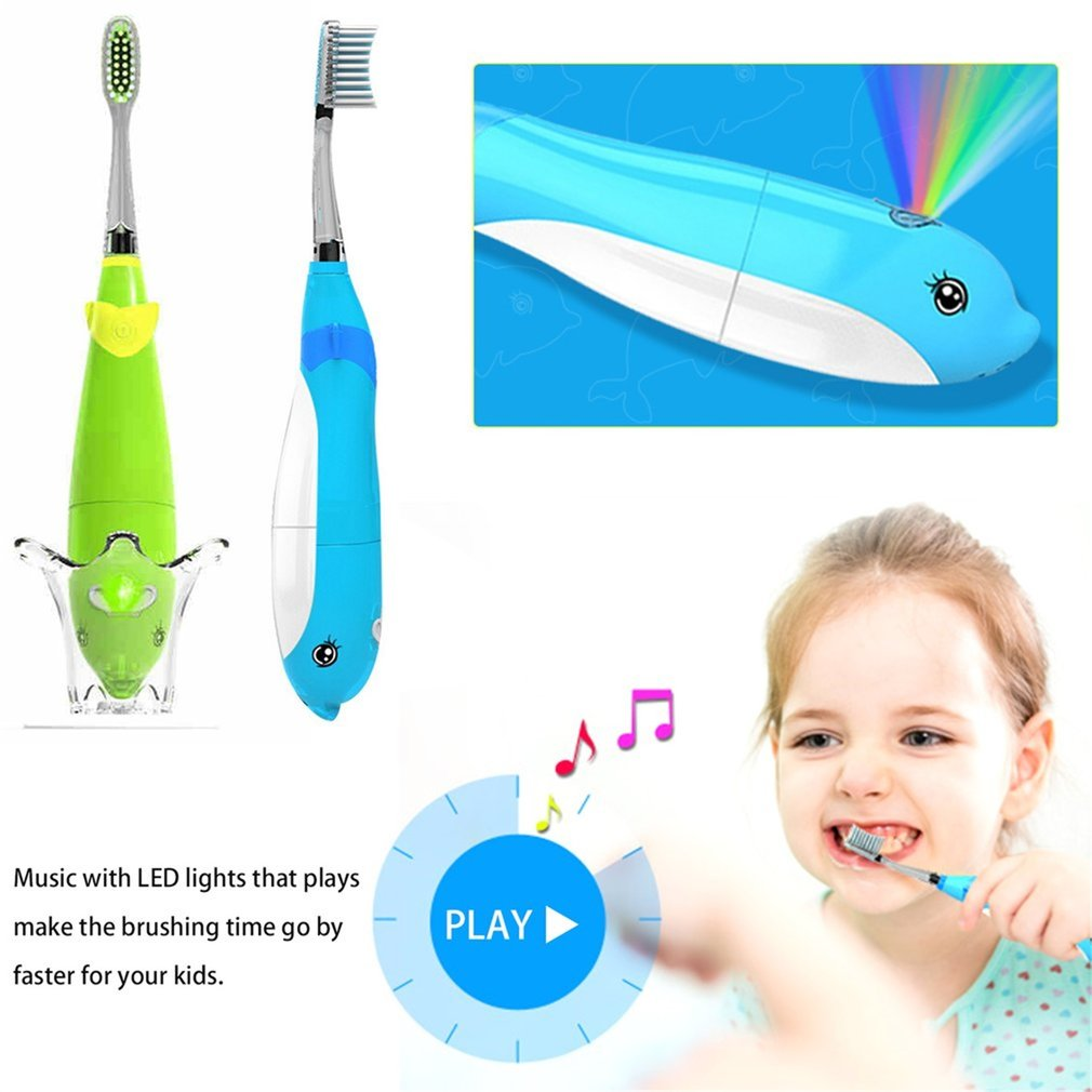Seago Children Kids Electric Toothbrush Waterproof Battery Powered Music Kids Sonic Toothbrush With LED Light image