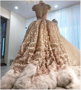 Image 4 - Robe De mariée Champagne, à fleurs 3D, style sirène, robe De mariée avec plumes détachables, avec perles détachables