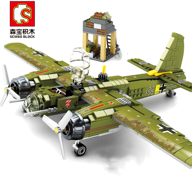 Sembo Block 559 pcs Military Building Blocks Ww2 Bombing Airplane Compatible Major Brands Army Vehicle Toys for Children Boy(China)