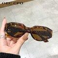 OEC-MANAGEMENT CPO Punk Cat eye Sonnenbrille Frauen Vintage Kleine Oval Objektiv Sonnenbrille Weibliche Marke Designer Leopard Shades Brillen UV400