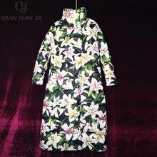 Qian Han Zi дизайнерские модные пальто для женщин с длинным рукавом с принтом лилии 90% белый утиный пух зимние теплые винтажные Длинные пуховики пальто