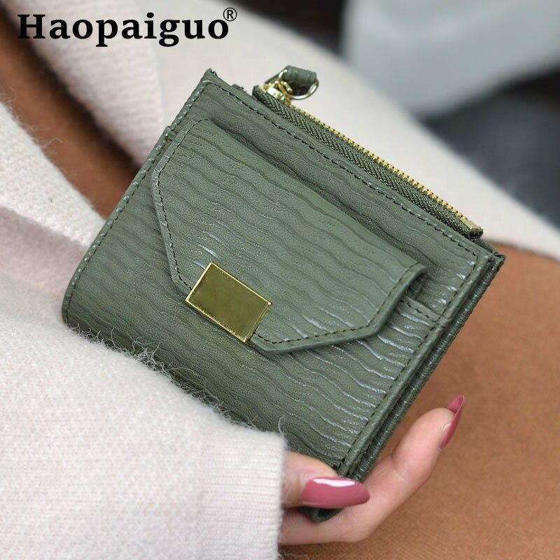 6 farbe Solide Vintage Matte Frauen Brieftasche Kleine Weibliche Geldbörse Kurz Geldbörse Dame Brief Snap Fastener Zipper Kurze Kupplung Brieftasche
