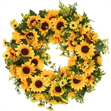 Artificial Sunflower Summer Wreath-16 Inch Decorative Fake Flower Wreath With Yellow Sunflower And Green Leaves For Front Door I