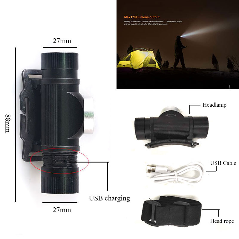 cheapest TMWT Powerful USB-Rechargeable Outdoor Lighting Headlamp Cree xml2 T6 LED 2000lm 3 Modes Fishing Light Camping Headlight