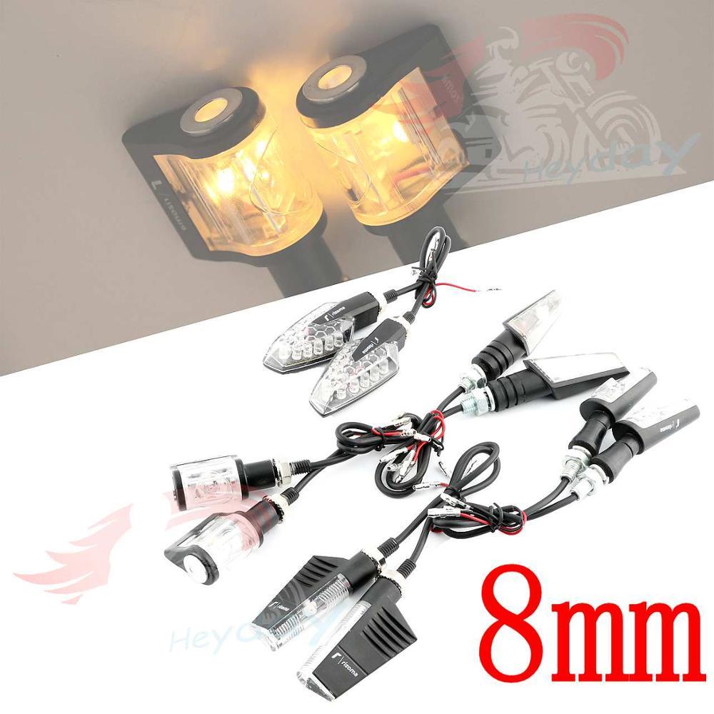 12V 8mm Universal Motorcycle Turn Signal Light For Rizoma LED Indicator Light Blinker Flasher Lamp Aluminum Alloy Black