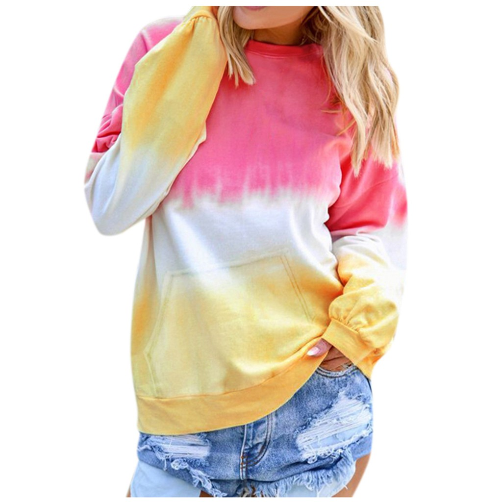 Women's Casual Contrast Color Autumn Hoodies Long Sleeve Pullover Sweatshirt Pocket Tops Leisure Round Neck Streetwear Hoodie