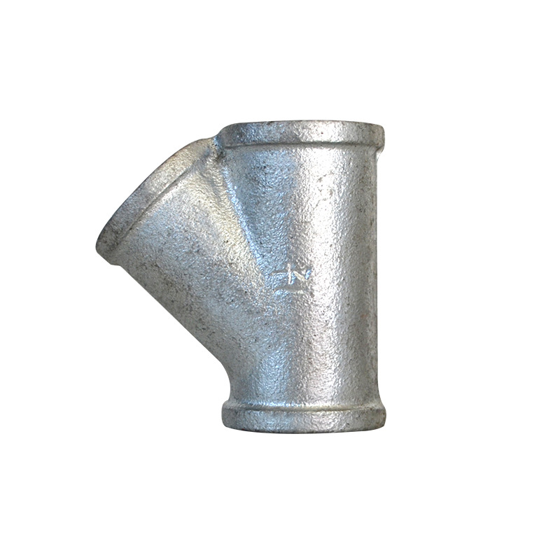 Hot Galvanized 45-Degree Internal Thread Tooth Oblique T-junction DN15 To Dn50y Type T-connector Pipe Joint Malleable Cast Iron