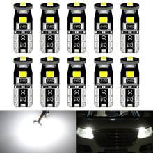 10 pçs 194 168 t10 w5w lâmpadas led super brilhante carro cúpula luzes de leitura da placa licença lâmpada auto dc 12 v 6000 k branco âmbar vermelho