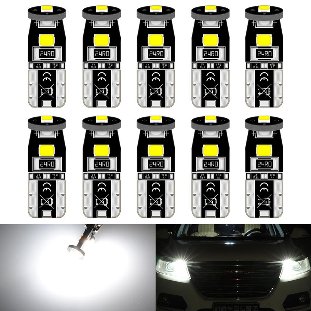 10pcs T10 W5W 194 <font><b>Led</b></font> Bulbs Parking Car <font><b>LED</b></font> Side Light Trunk <font><b>Lamp</b></font> Lighting For <font><b>Peugeot</b></font> 206 <font><b>308</b></font> 307 207 12V White Red Amber image