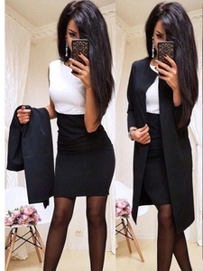 Image 4 - Trajes nuevos de oficina para mujer, vestido Formal, ropa de negocios, Chaqueta larga para mujer, vestido de vaina, conjuntos de 2 piezas, 2019