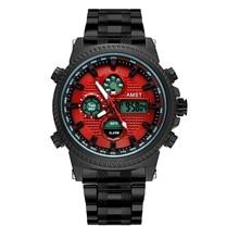 AMST 2019 new Luxury Relogio Masculino Watch men multi-function dual-display waterproof luminous sports watch mens steel strap