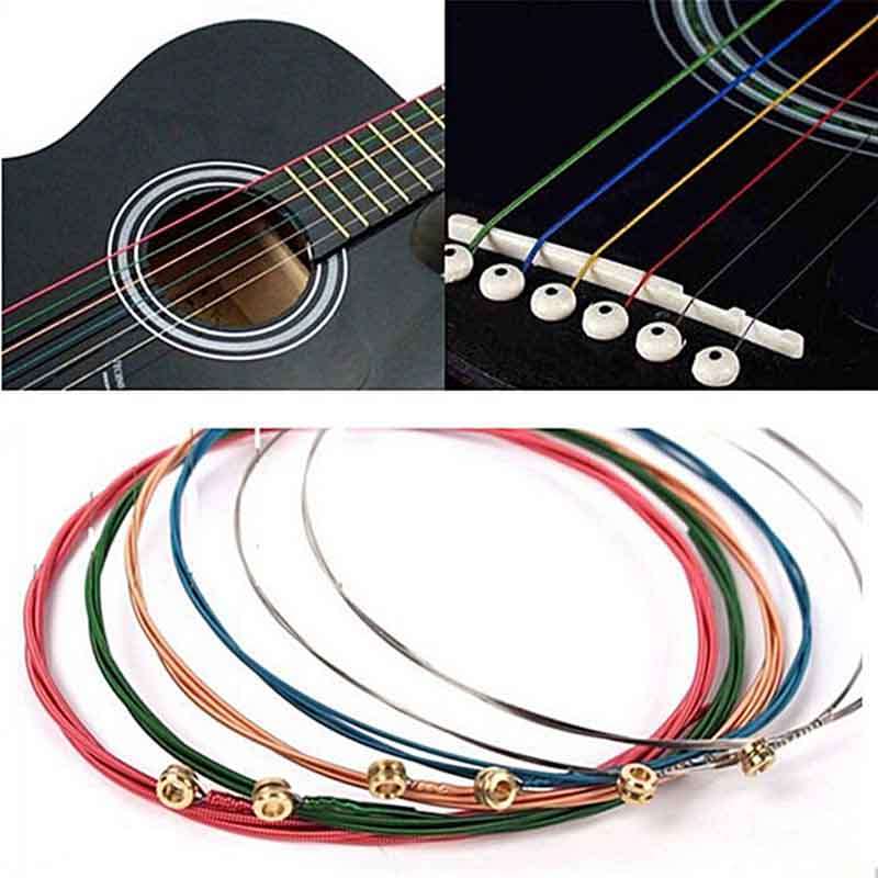6Pcs Acoustic Guitar Strings Rainbow Colorful Guitar Strings E-A For Acoustic Folk Guitar Classic Guitar Stainless Steel Strings