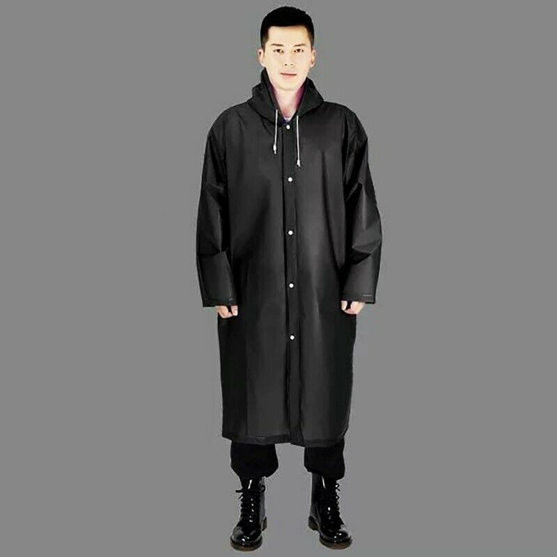 Black Fashion Adult Women Men Waterproof Long Jacket Thick PVC Raincoat Rain Coat Hooded Poncho Rainwear For Outdoor Hiking Trav