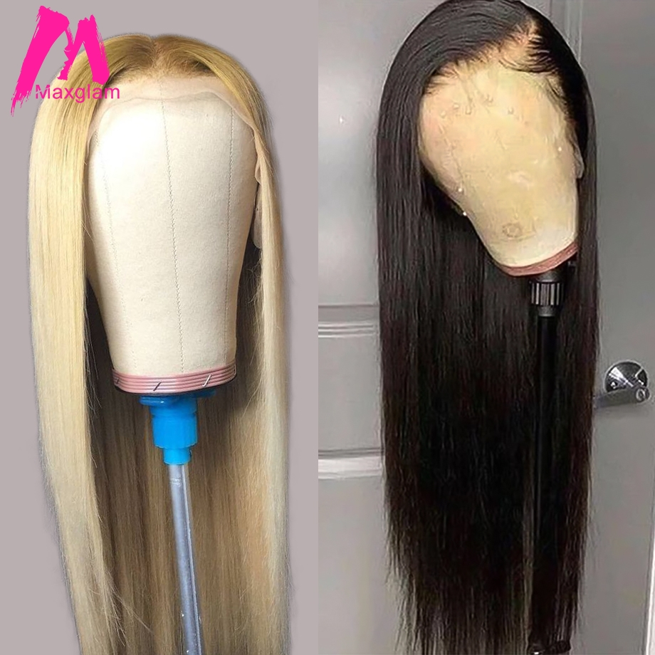 Blonde 613 natural Full Lace Human Hair Wigs With Baby Hair Straight Short Brazilian Pre Plucked Remy Wig For Black Women 130% image