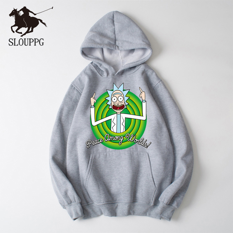 SLOUPPG 2019 Autum New Design Rick And Morty Mens Hoodies Cotton Funny Print Hoodie Man Fashion Rick Morty Casual Sweatshirt