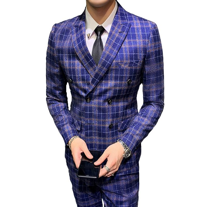 British Style Men's Suit Suit Fashion Banquet Slim Suit Three-piece Jacket Pants Vest Double-breasted Suit