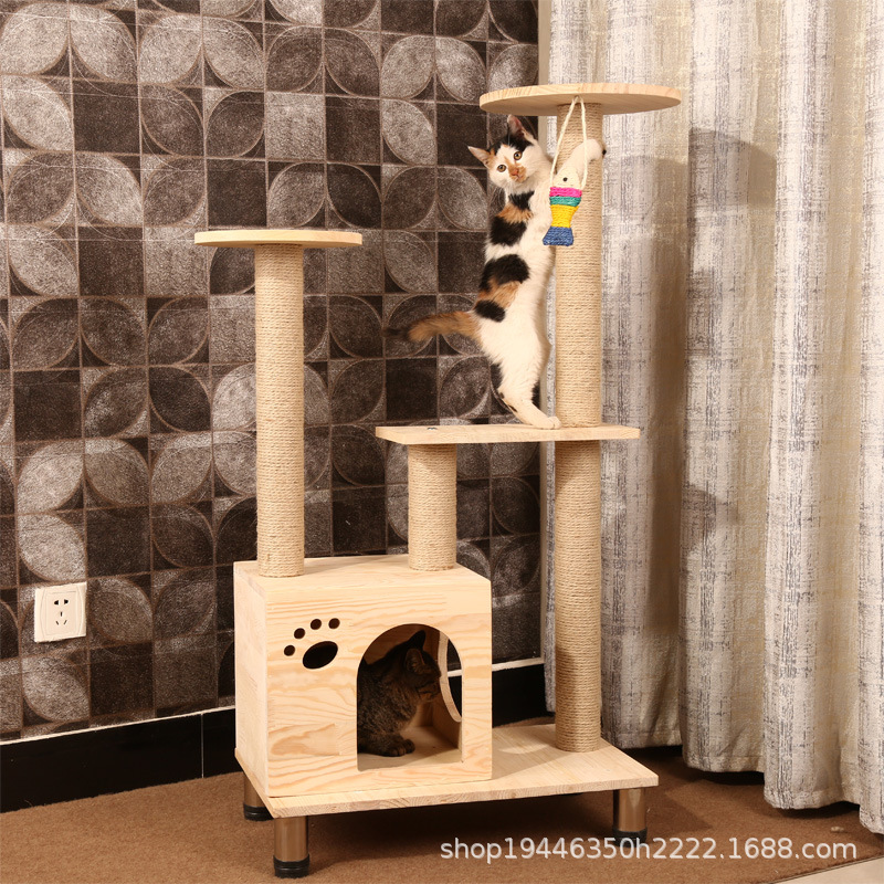 Solid Large size sisal cat scratching post scratching Wood cat tree house pet furniture play house pet supplies dropshipping - 3