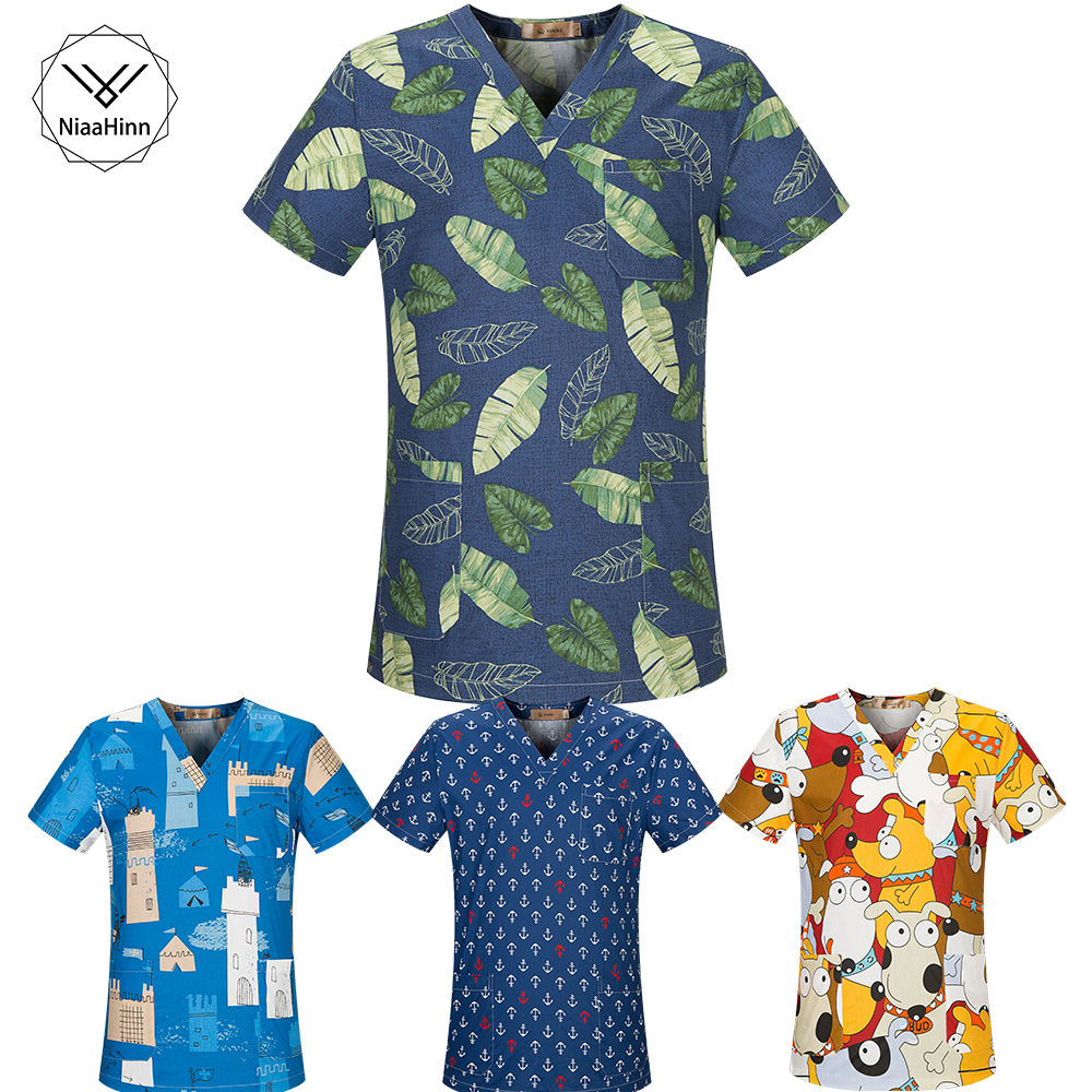 New Fresh Print Design Cotton Medical Scrub Tops Unisex Hospital Workwear Uniforms Short Sleeve Scrub Lab Clothes Nurse Uniform