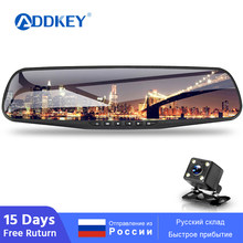 ADDKEY Car DVR Full HD 1080P 4.3 Inch IPS Touch Screen Recorder Dual Lens with Rear View Mirror Auto Registrator Dash Camera dvr(China)
