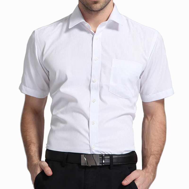 Men Short Sleeve Shirt Easy Care Formal Business Work Office Male Dress Shirts Regular Fit Plus Size 5XL