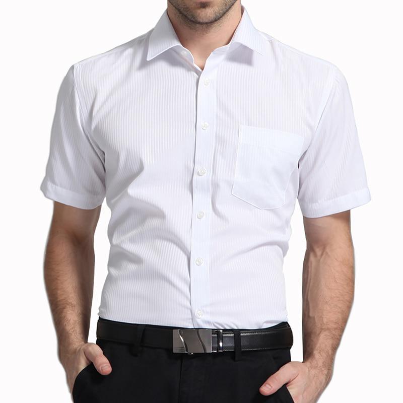 Men Short Sleeve Shirt Easy Care Formal Business Work Office Male Dress Shirts Regular Fit Plus Size 5XL