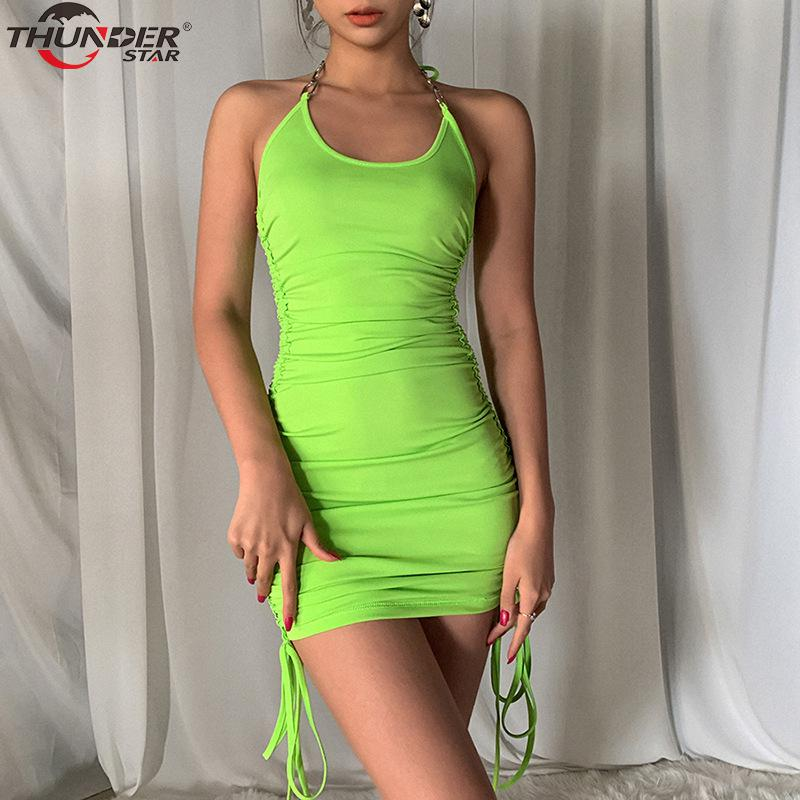 Summer Club Vacation Birthday Party Camis Dress Women Sexy 2020 Spring Fashion Solid Color Skinny Kawaii Mini Wrap Dress 3