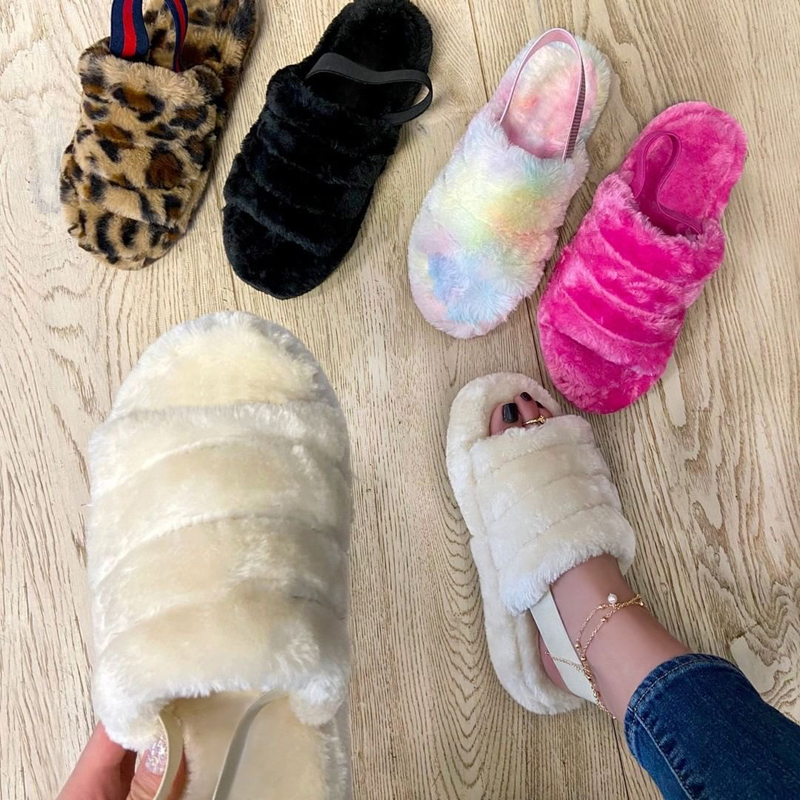 Spring Plush Slippers 2020 Ms Flat Bottom Antiskid Indoor All-around Comfortable Sandals Outdoor Leisure Women's Plus Size 37-42