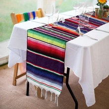 3 Colors Mexican Style Table Runner Blanket Tablecloth Shawl  Cotton Fringe Theme Party Wedding Home Decoration