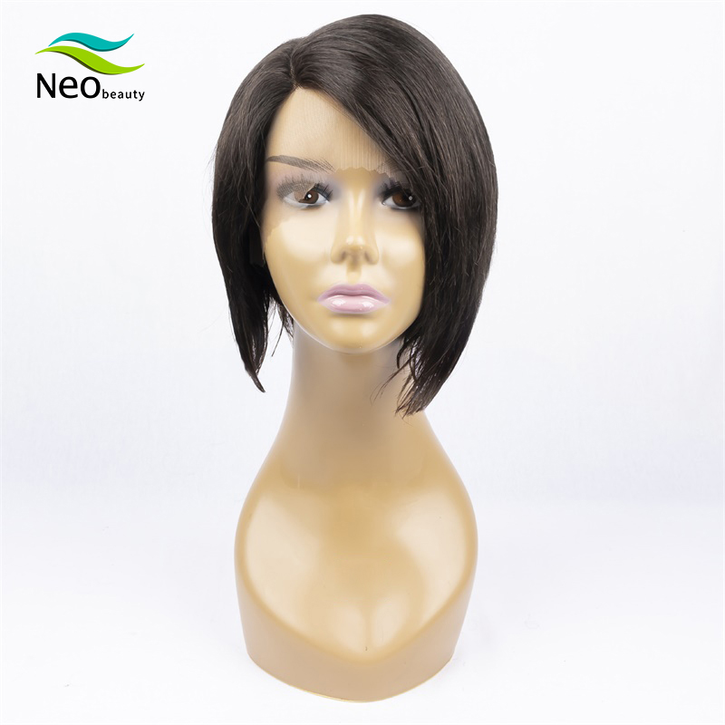 Pixie Cut Short Black Lace Wig Human Hair Wigs Right Deep Part Lace Wigs Brazilian Remy Straight Wigs For Coupe Lutin Hair