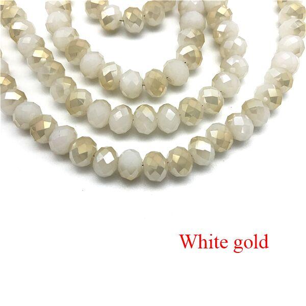 2X3/3X4/4X6/6X8 мм хрустальные бусины AB разноцветные стеклянные бусины Sapcer для ювелирных изделий ручное кольцо Ожерелье Изготовление DIY - Цвет: White gold