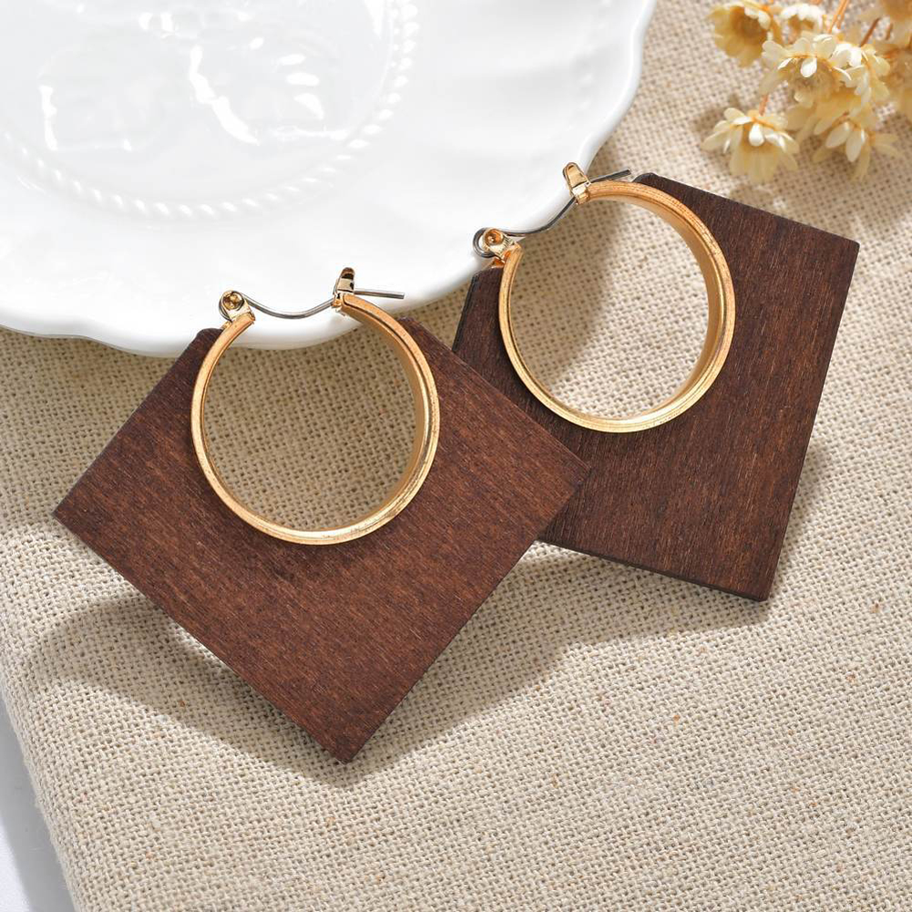 New Square Round Geometric Dangle Earrings Wooden Earrings Fashion Handmade Large African Wooden Earrings for Women Jewelry