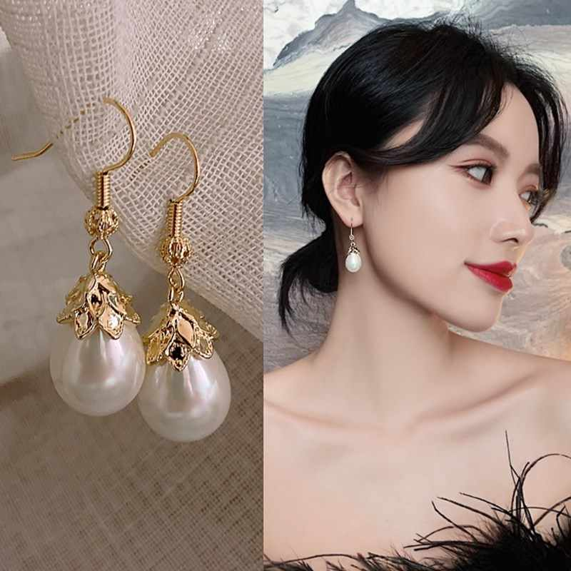 Korea Angin Gadis Anting-Anting Cahaya Tinggi Drop Rumbai Panjang Mutiara Sederhana Anting-Anting Drop Anting-Anting Perempuan Fashion Perhiasan Aksesoris