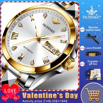 Męskie zegarki OUPINKE Top marka zegarki ze stali nierdzewnej mechaniczne w pełni zegarki automatyczne zegarki biznesowe mechaniczne zegarki tanie i dobre opinie 5Bar CN (pochodzenie) Klamerka z zapięciem BIZNESOWY Mechaniczna nakręcana wskazówka 20cm stal wolframowa Odporna na wstrząsy