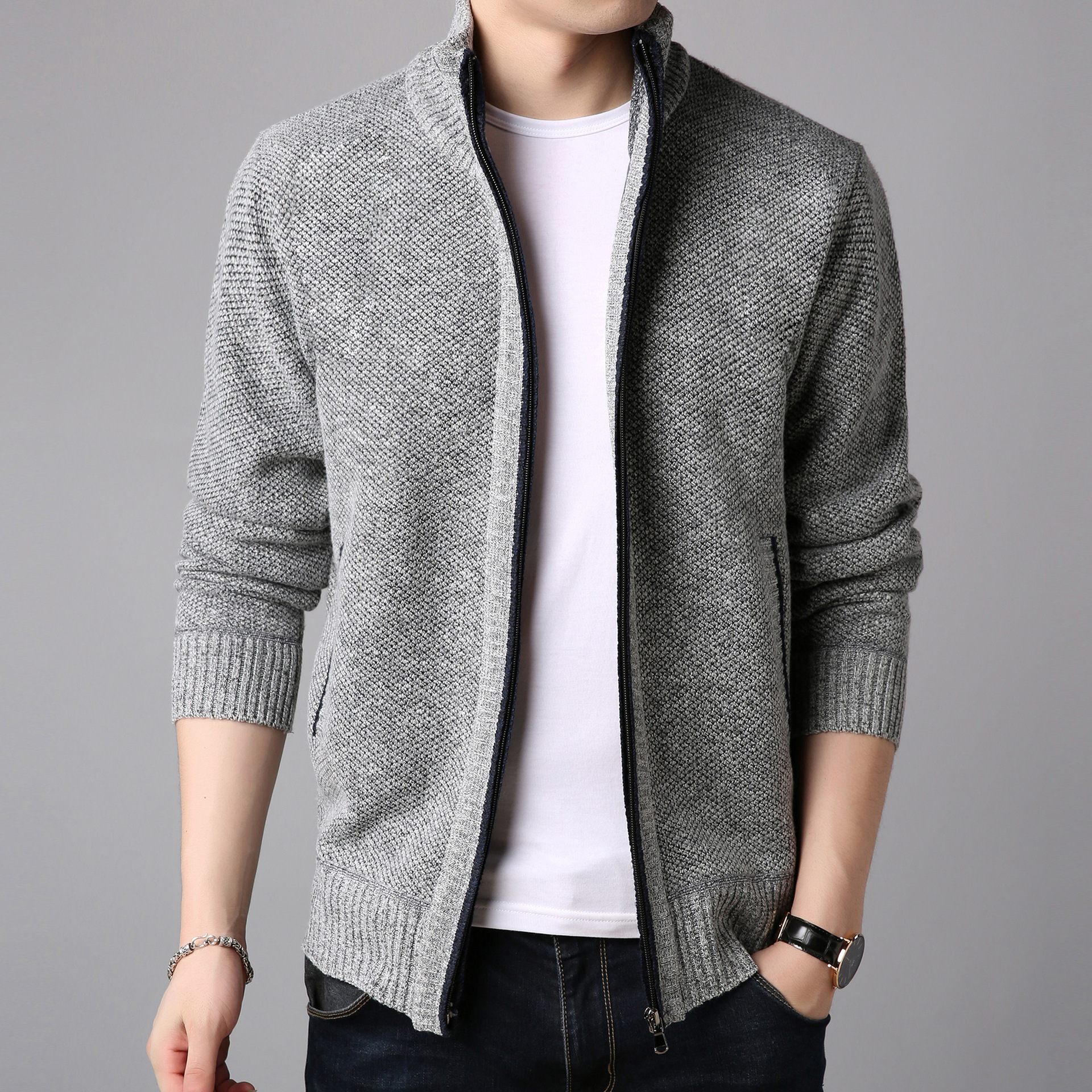 Winter Fleece Men's Sweater Coat Side Pocket Long Sleeve Knitted Cardigan Full Zip Autumn Warm Male Fashionable Causal Clothing