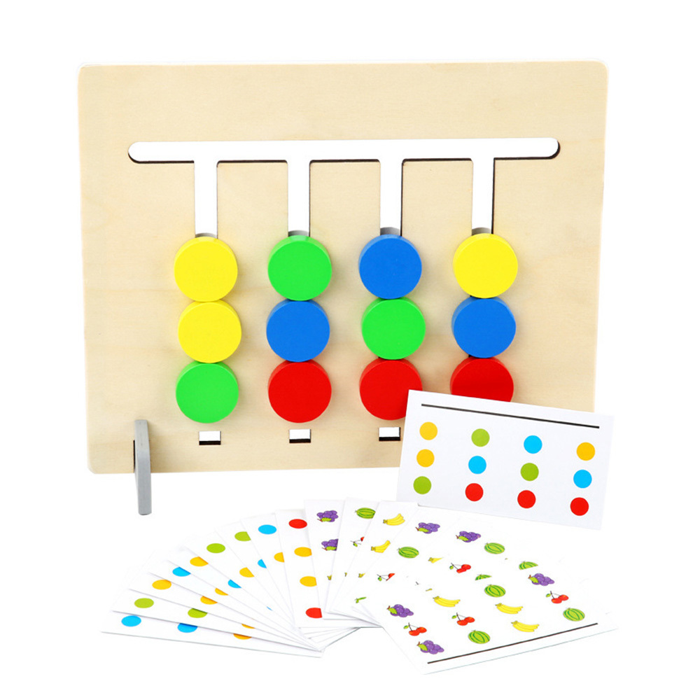 Colors Fruits Double Sided Matching Game Logical Reasoning Training Toys Early Learning Wooden Toys