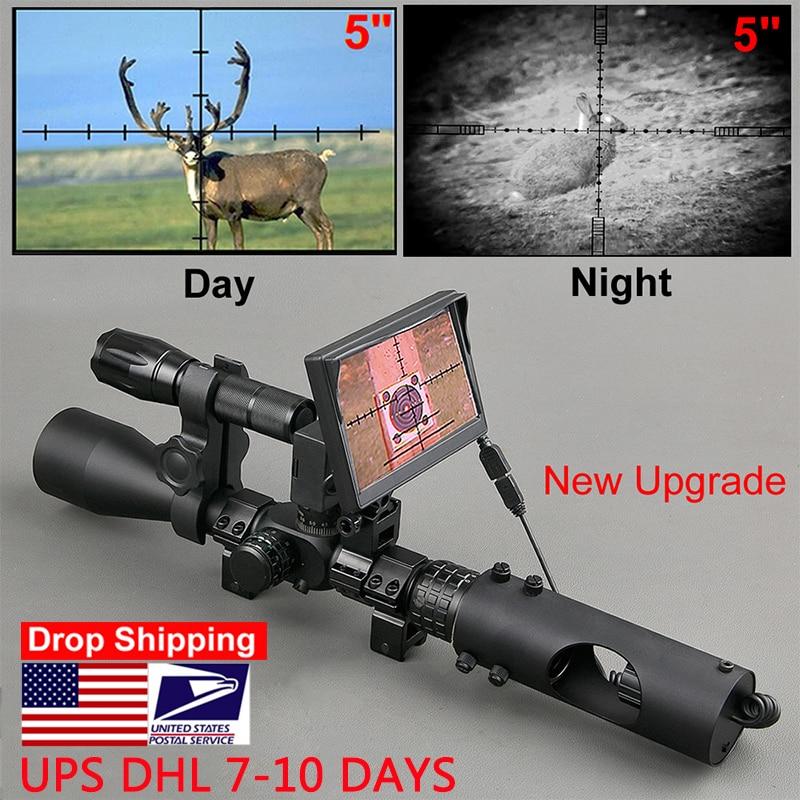 Ночного видения прицел охотничьи прицелы Оптика прицел тактический 850nm инфракрасный светодиодный ИК водонепроницаемый ночное видение охотничья камера vision riflescope optic sighthunting scopes   АлиЭкспресс