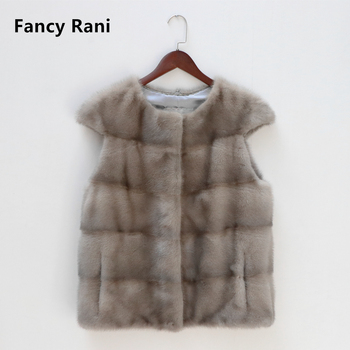 2020 new natural real mink fur vest for women short style winter fashion